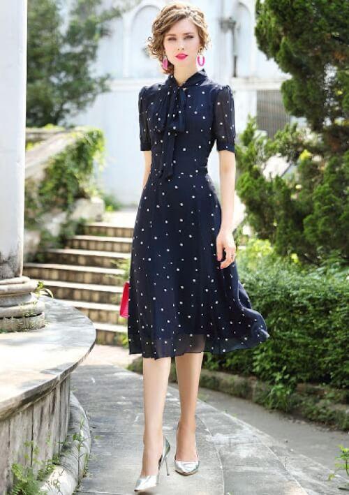 Đầm xòe chấm bi vintage