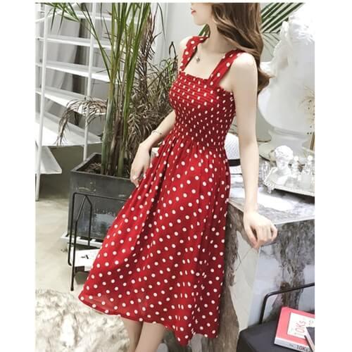 Đầm 2 dây chấm bi nhún eo màu đỏ