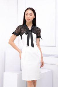 Đầm công sở phối ren màu đen trắng