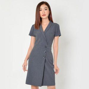Đầm công sở màu xám ghi
