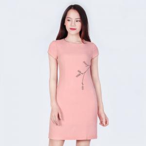 Đầm công sở màu hồng gạch
