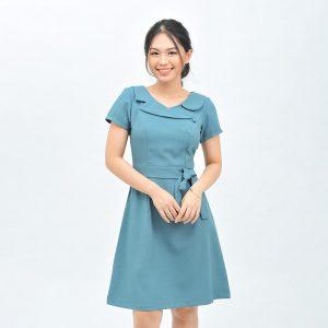 Đầm công sở thắt nơ màu xanh