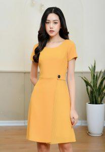Đầm công sở màu vàng cam