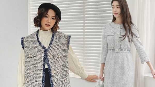 nhung, dệt kim, tweed 3 chất liệu vừa giữ ấm vừa hợp mốt thu đông